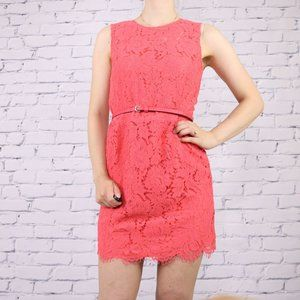 Luna coral sleeveless belted lace dress c1